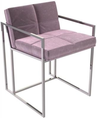 Regents Blush Velvet Chair with Polished Chrome Frame