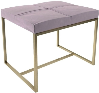 Regents Blush Velvet Small Upholstered Stool with Brass Brushed Frame