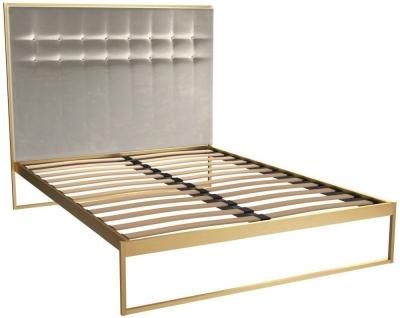 Regents Brass Brushed Bed Frame with Mushroom Velvet Upholstered Headboard