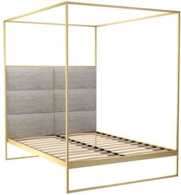 Regents Brass Brushed Canopy Frame Bed with Weathered Oak Headboard