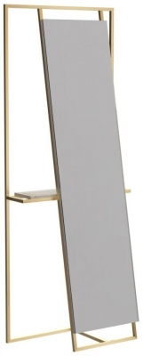 Regents Brass Brushed Rectangular Floor Mirror and Valet with Weather Oak Accent