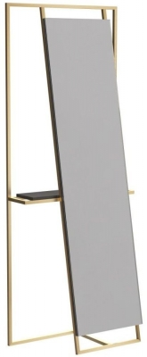 Regents Brass Brushed Rectangular Floor Mirror and Valet with Wenge Accent