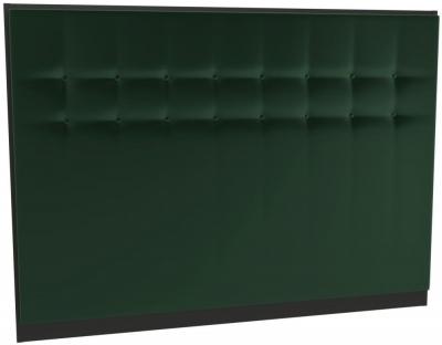Regents Deep Green Velvet Upholstered Headboard with Black Metal Frame