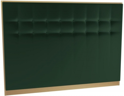 Regents Deep Green Velvet Upholstered Headboard with Brass Brushed Frame