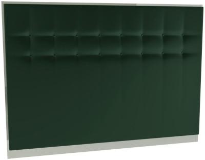 Regents Deep Green Velvet Upholstered Headboard with Polished Chrome Frame
