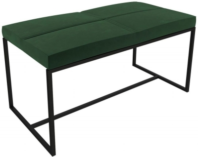 Regents Deep Green Velvet Large Stool with Black Metal Frame