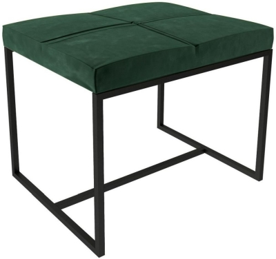 Regents Deep Green Velvet Small Stool with Black Metal Frame