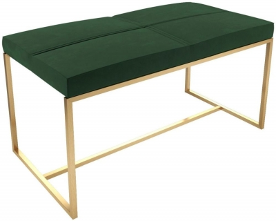 Regents Deep Green Velvet Large Stool with Brass Brushed Frame