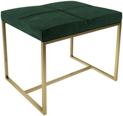 Regents Deep Green Velvet Small Stool with Brass Brushed Frame