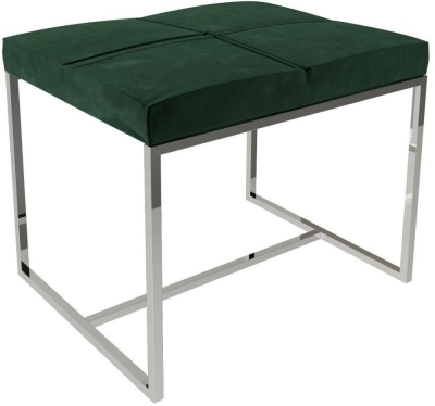 Regents Deep Green Velvet Small Stool with Polished Chrome Frame