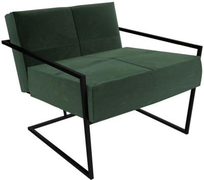 Regents Deep Green Velvet Upholstered Armchair with Black Metal Frame