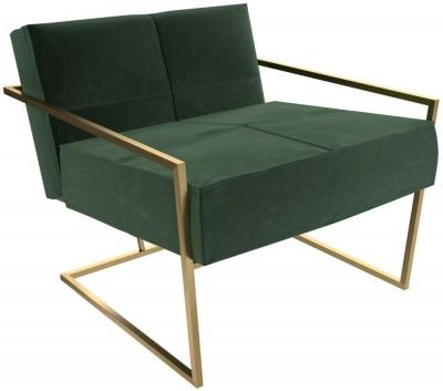 Regents Deep Green Velvet Upholstered Armchair with Brass Brushed Frame