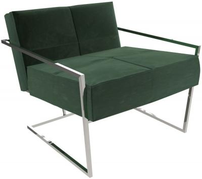 Regents Deep Green Velvet Upholstered Armchair with Polished Chrome Frame