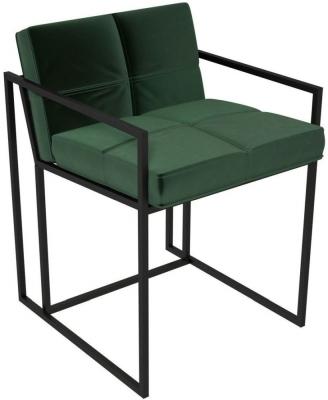 Regents Deep Green Velvet Chair with Black Metal Frame