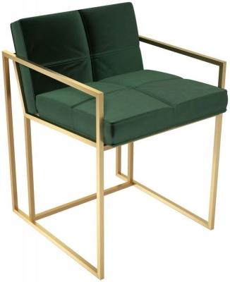 Regents Deep Green Velvet Chair with Brass Brushed Frame
