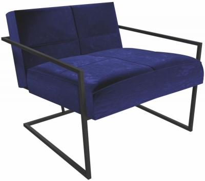 Regents Midnight Blue Armchair with Black Metal Frame