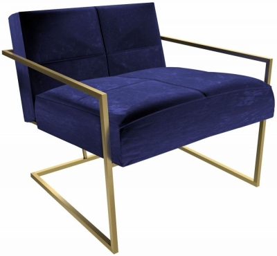 Regents Midnight Blue Armchair with Brass Brushed Frame