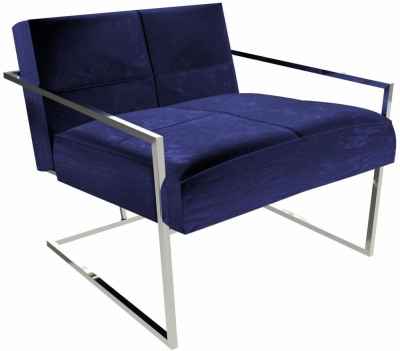 Regents Midnight Blue Armchair with Polished Chrome Frame
