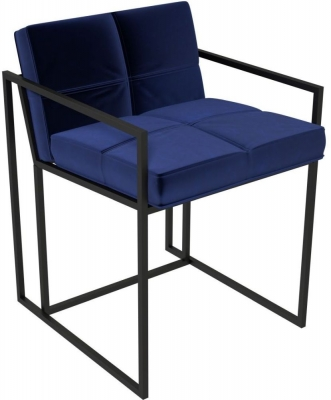 Regents Midnight Blue Chair with Black Metal Frame