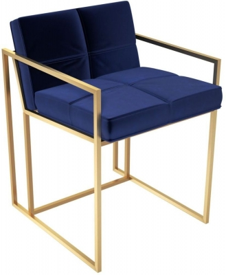 Regents Midnight Blue Chair with Brass Brushed Frame