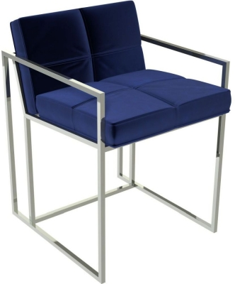 Regents Midnight Blue Chair with Polished Chrome Frame