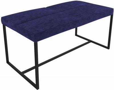 Regents Midnight Blue Large Upholstered Stool with Black Metal Frame