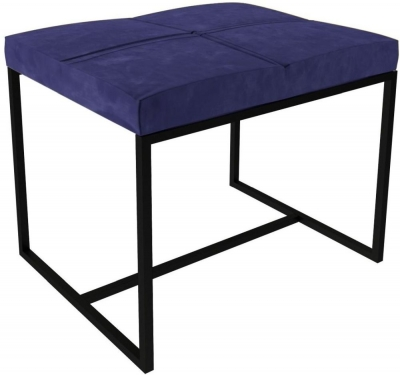 Regents Midnight Blue Small Upholstered Stool with Black Metal Frame