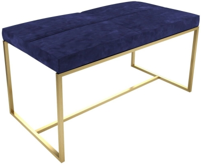 Regents Midnight Blue Large Upholstered Stool with Brass Brushed Frame