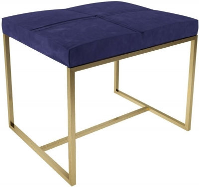Regents Midnight Blue Small Upholstered Stool with Brass Brushed Frame