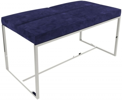 Regents Midnight Blue Large Upholstered Stool with Polished Chrome Frame