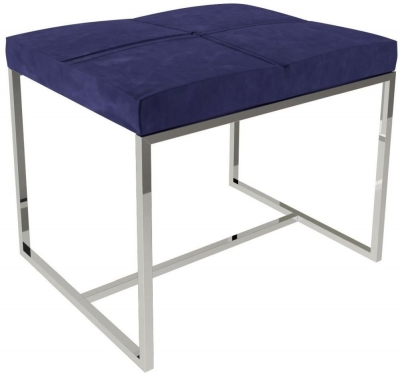 Regents Midnight Blue Small Upholstered Stool with Polished Chrome Frame