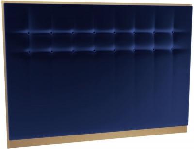 Regents Midnight Blue Velvet Upholstered Headboard with Brass Brushed Frame