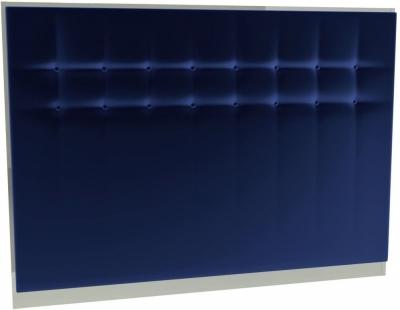 Regents Midnight Blue Velvet Upholstered Headboard with Chrome Polished Frame