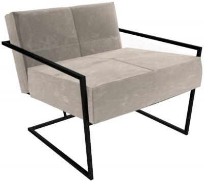 Regents Mushroom Velvet Armchair with Black Metal Frame