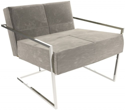 Regents Mushroom Velvet Armchair with Polished Chrome Frame