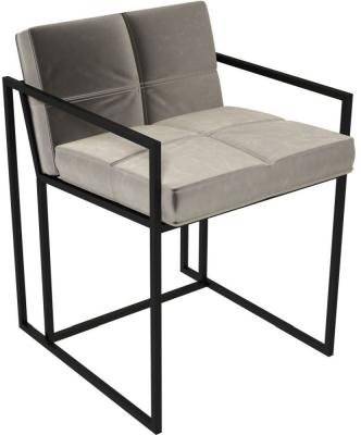 Regents Mushroom Velvet Chair with Black Metal Frame