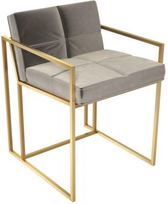 Regents Mushroom Velvet Chair with Brass Brushed Frame