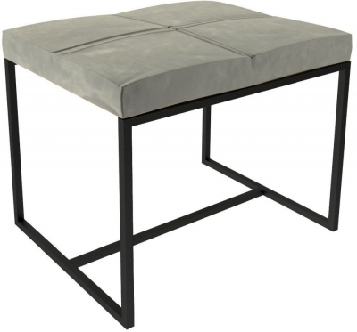Regents Mushroom Velvet Small Upholstered Stool with Black Metal Frame