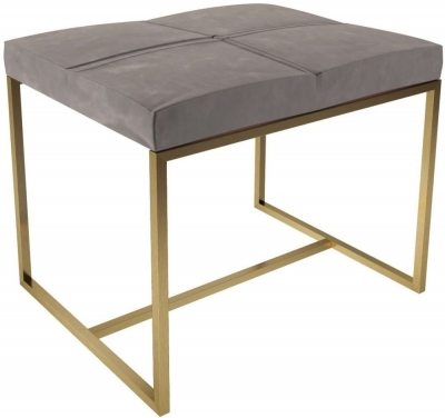 Regents Mushroom Velvet Small Upholstered Stool with Brass Brushed Frame