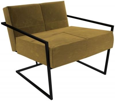 Regents Mustard Velvet Armchair with Black Metal Frame