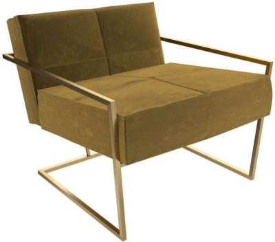 Regents Mustard Velvet Armchair with Brass Brushed Frame