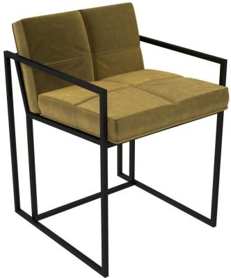 Regents Mustard Velvet Chair with Black Metal Frame