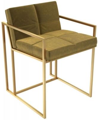 Regents Mustard Velvet Chair with Brass Brushed Frame