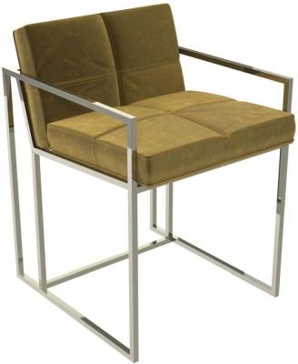 Regents Mustard Velvet Chair with Polished Chrome Frame