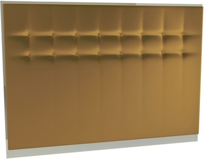Regents Mustard Velvet Upholstered Headboard with Chrome Polished Frame