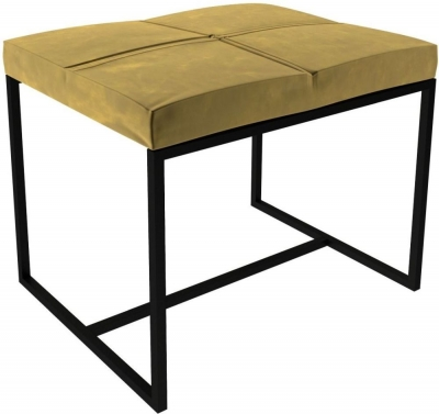 Regents Mustard Velvet Small Upholstered Stool with Black Metal Frame