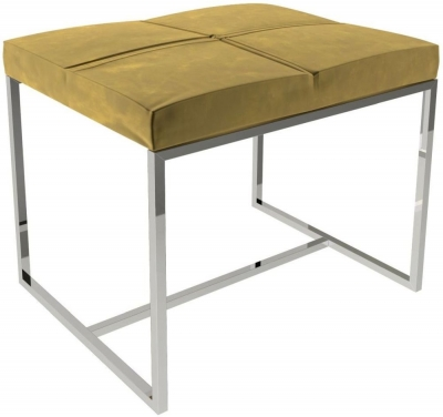Regents Mustard Velvet Small Upholstered Stool with Polished Chrome Frame