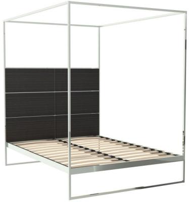 Regents Polished Chrome Canopy Frame Bed with Wenge Headboard