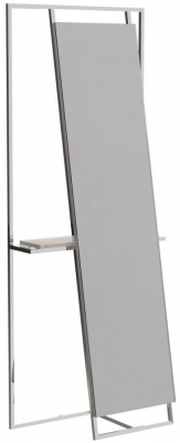 Regents Polished Chrome Rectangular Floor Mirror and Valet with Weathered Oak Accent
