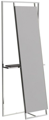 Regents Polished Chrome Rectangular Floor Mirror and Valet with Wenge Accent